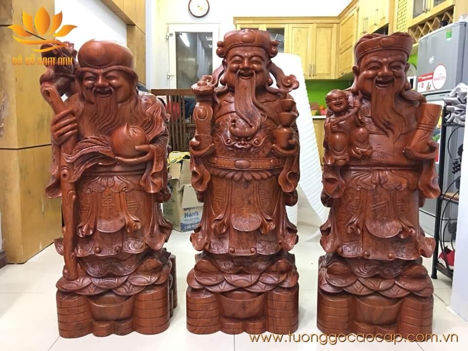 Tượng Tam Đa - Phúc Lộc Thọ gỗ hương loại to 107x38x28cm
