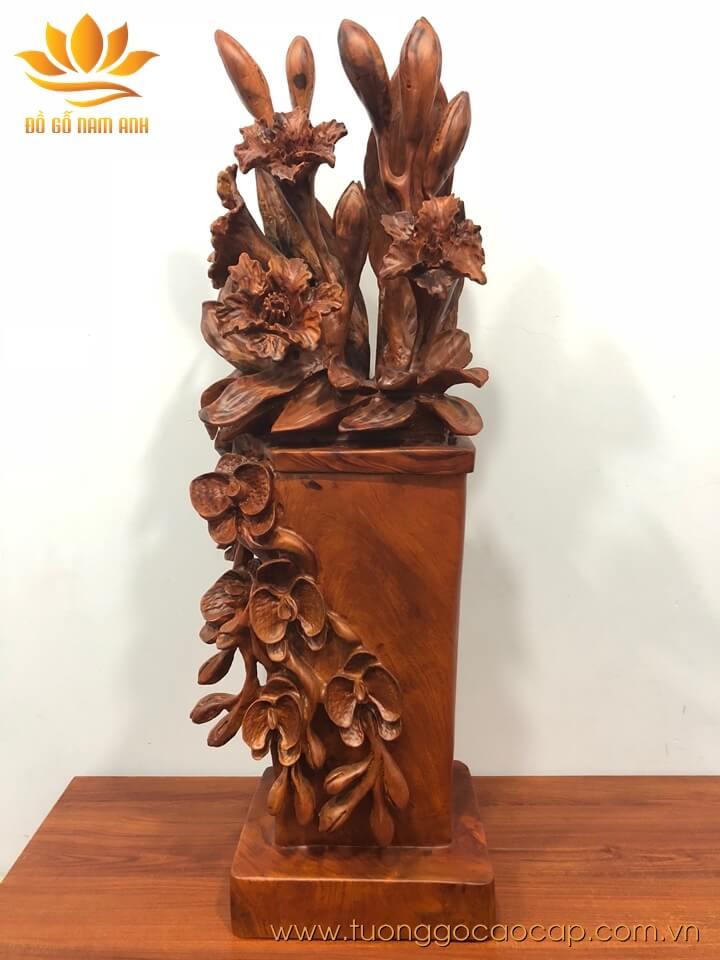 Chậu hoa trang trí gỗ hương liền khối 75x22x18cm