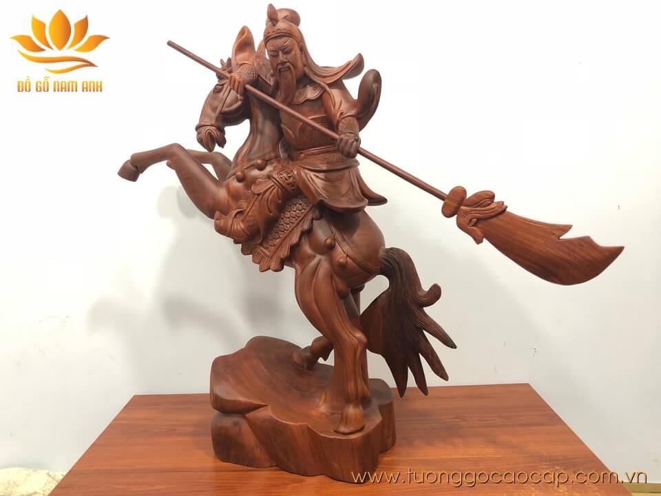 Tượng Quan Công cưỡi ngựa gỗ hương 60x50x20cm