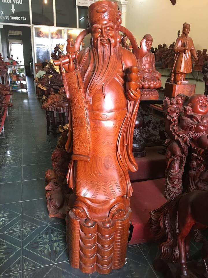 Tượng thần tài gỗ hương loại to 154x44x40cm