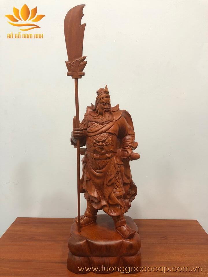 Tượng Quan Công chống đao gỗ hương 50x20x17cm