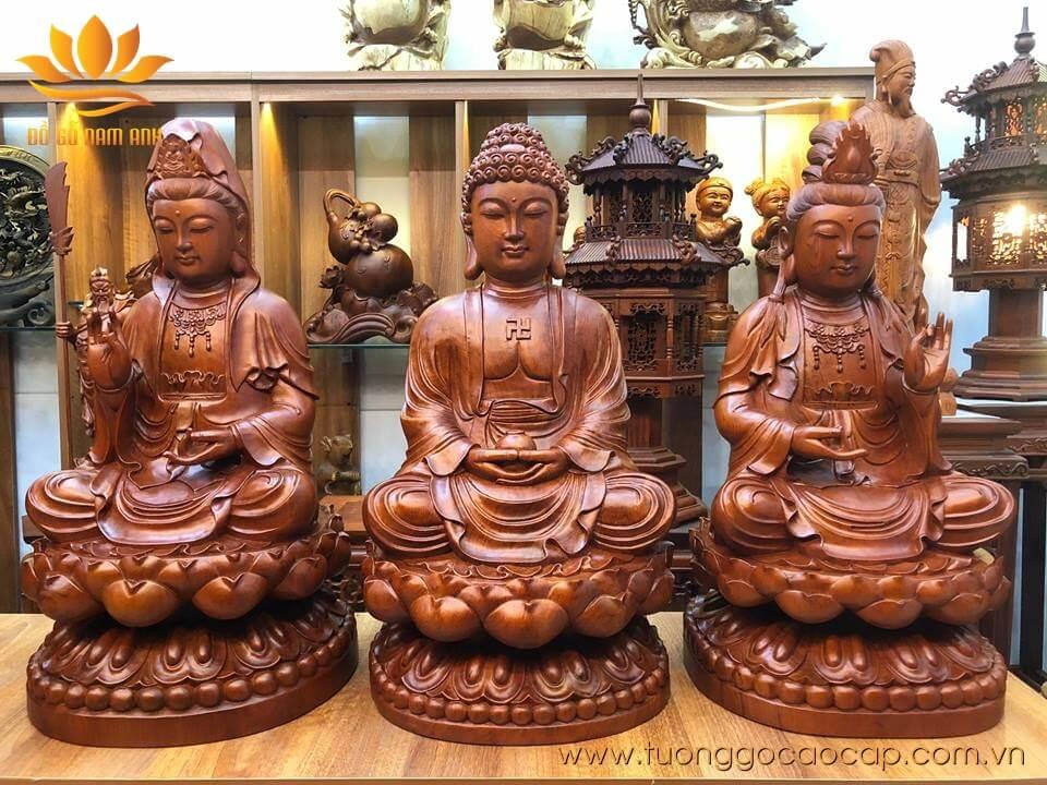 Bộ tượng Tam Thế Phật ngồi gỗ hương liền khối 60x30x30cm