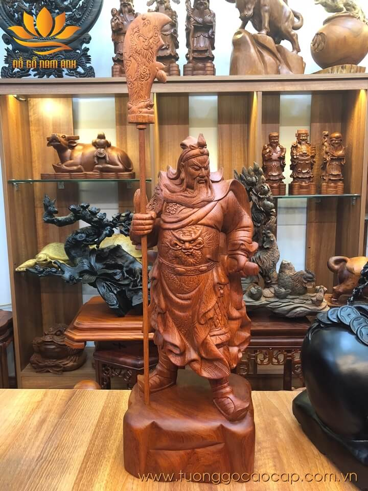 Tượng Quan Công chống đao gỗ hương 60x24x21cm
