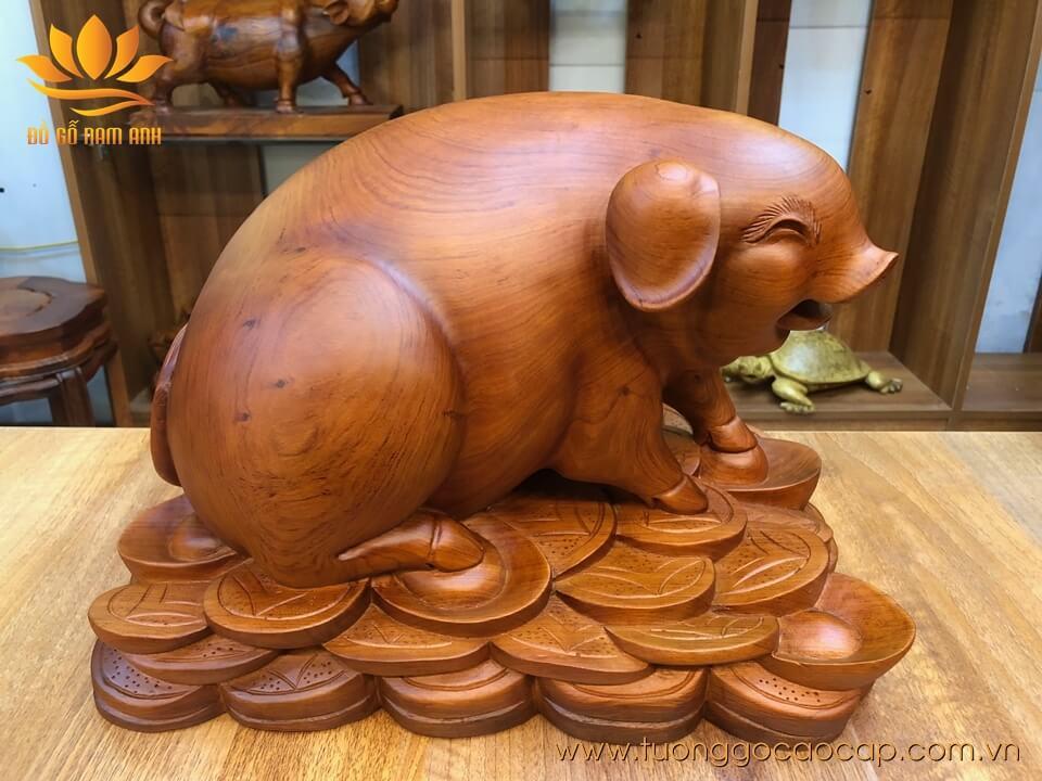 Tượng con Lợn, con Heo gỗ hương liền khối 28x40x25cm