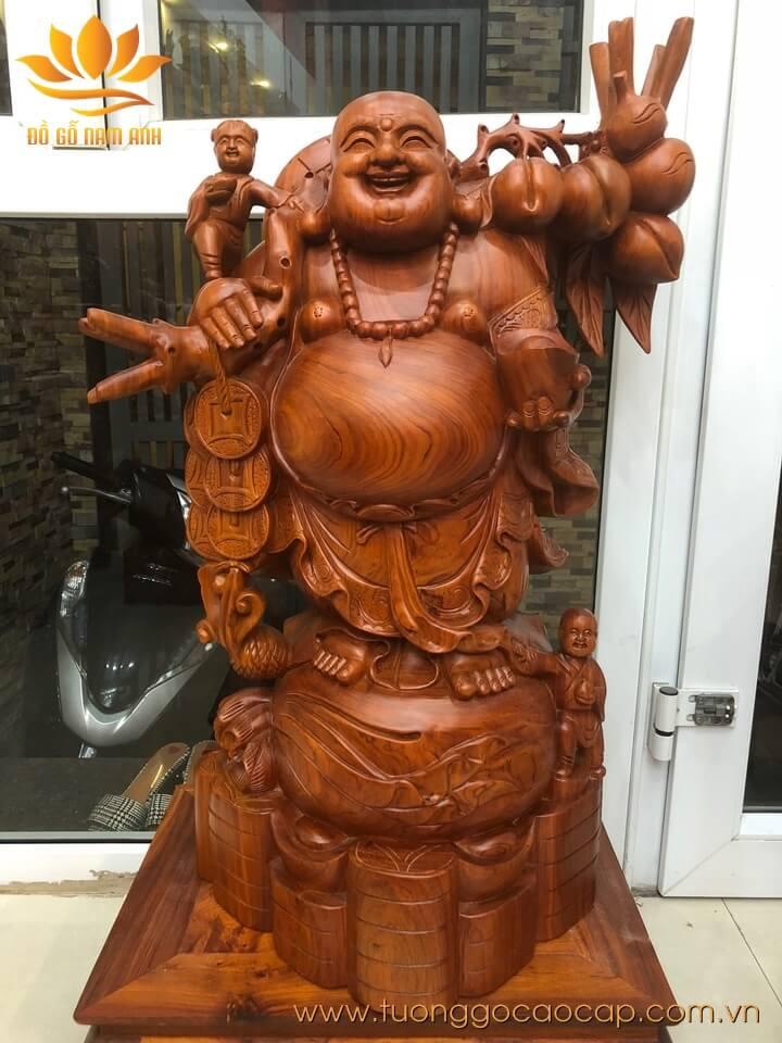 Tượng Di Lặc nhị phúc gánh đào gỗ hương 81x55x36cm