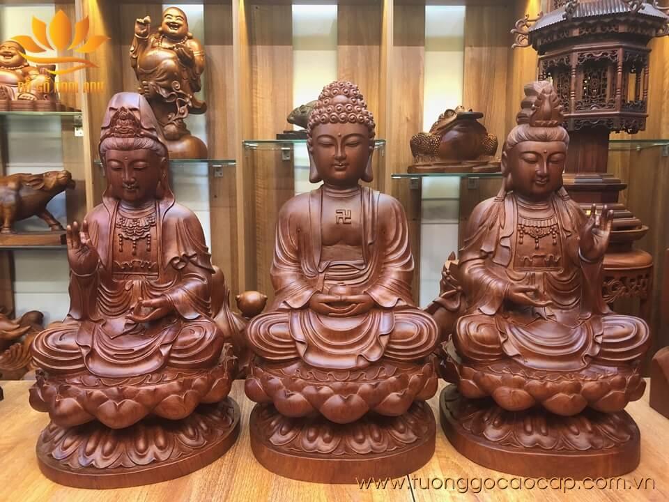 Bộ tượng Tam Thế Phật gỗ hương 42x23x23cm