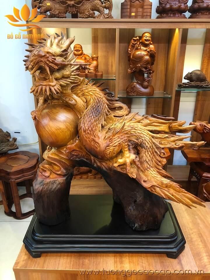 Tượng Rồng - Nhất Long vờn ngọc gỗ hương liền khối 75x66x48cm