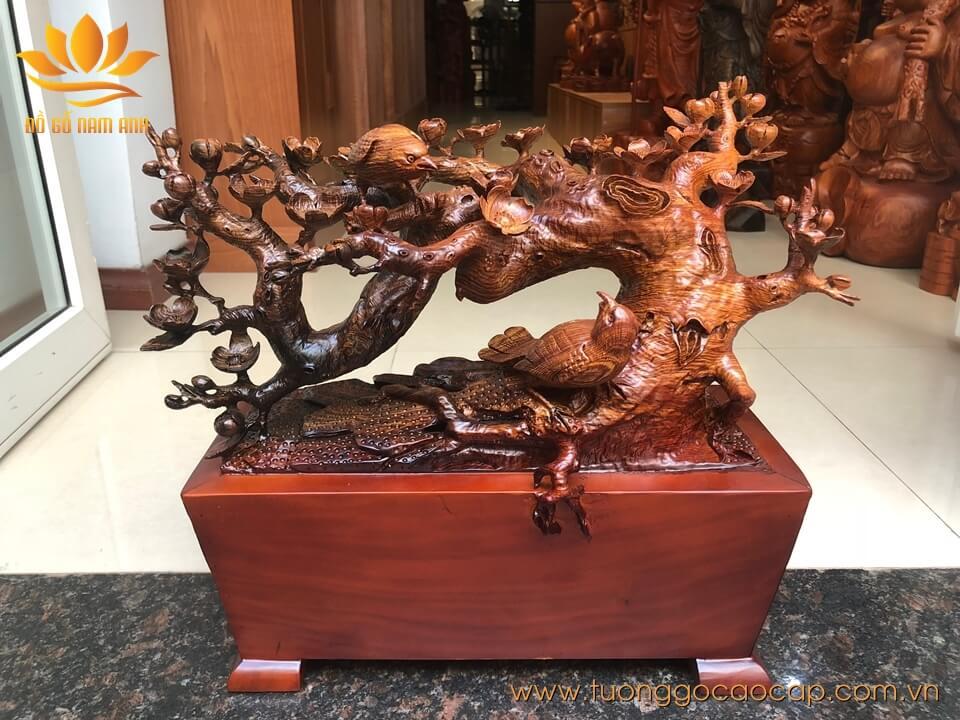 Chậu hoa mai phú quý gỗ cẩm đục tinh xảo 42x42x18cm