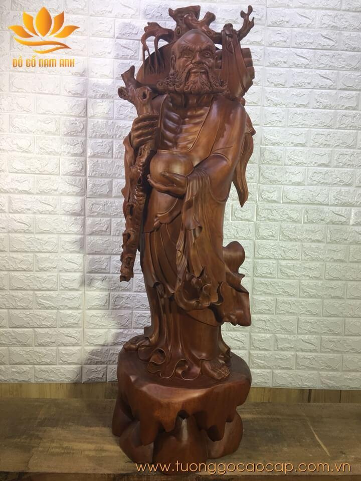 Tượng Đạt Ma gỗ hương liền khối loại to 147x47x47cm