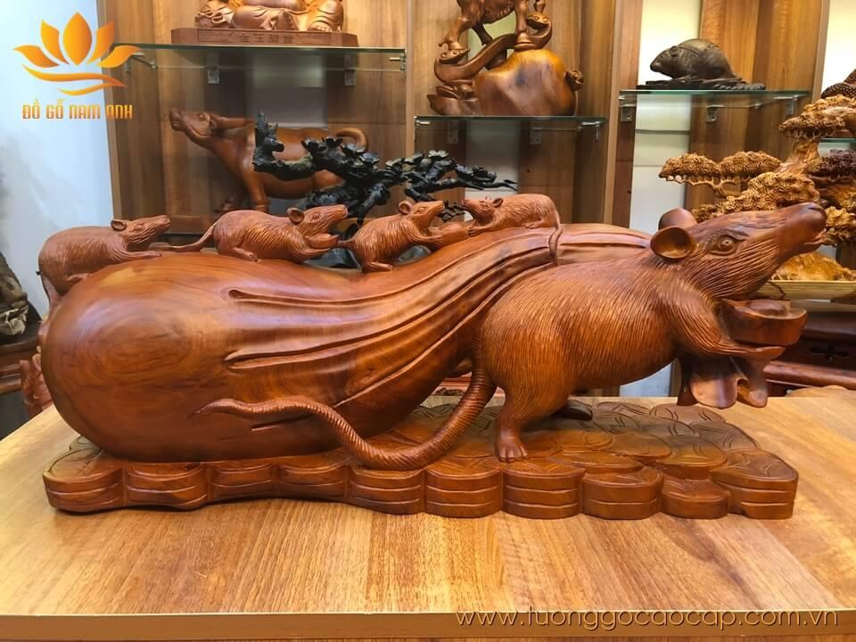 Gia đình chuột kéo bao tiền gỗ hương liền khối 25x72x17cm
