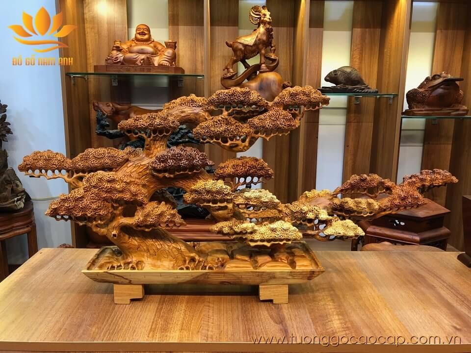 Bon sai gỗ hương đục tinh xảo 45x90x20cm