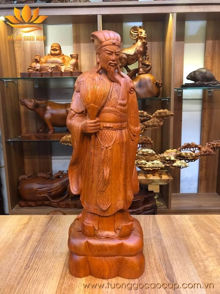 Tượng Khổng Minh để bàn gỗ hương 50x16x13cm