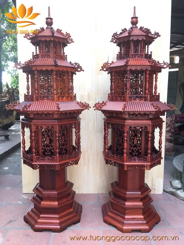 Đèn thờ cao cấp gỗ hương loại to 135x57x40cm