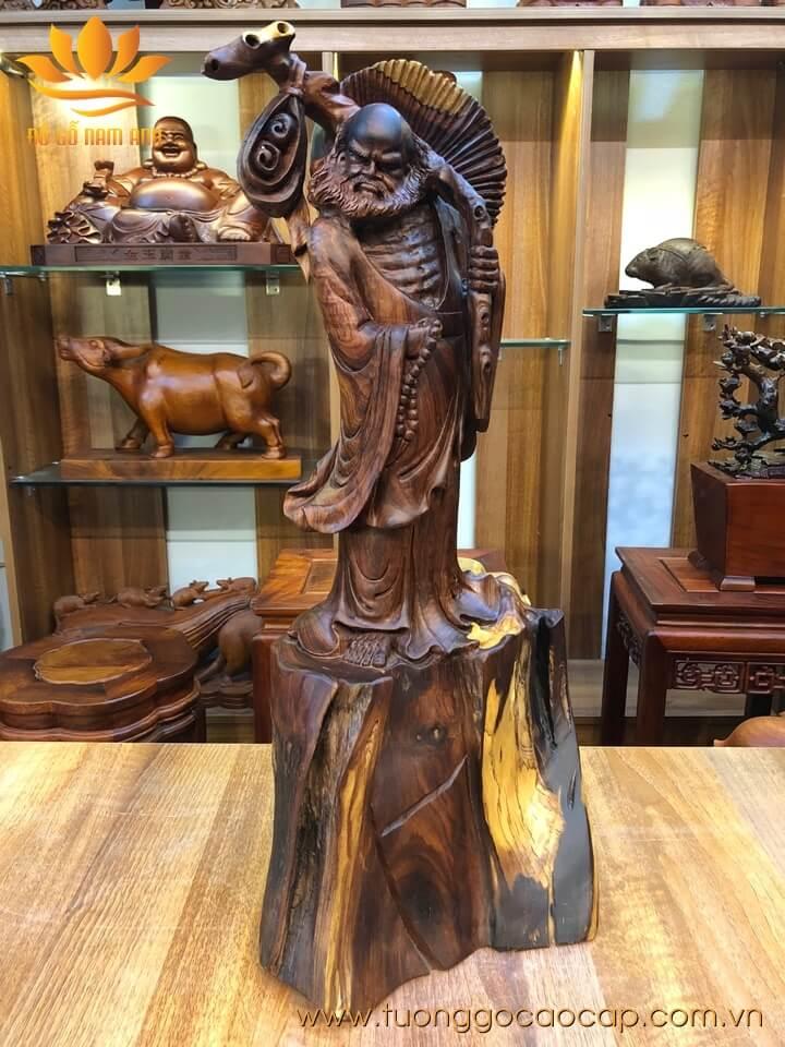 Tượng Đạt Ma gỗ cẩm lai liền khối 61x25x30cm