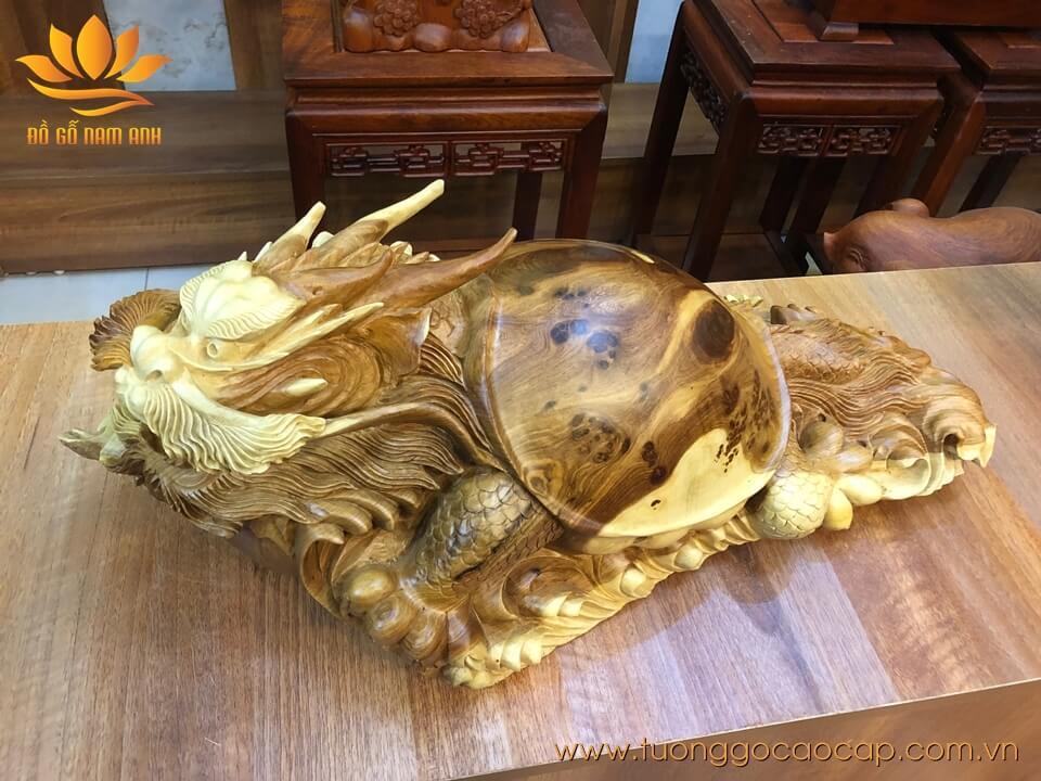 Tượng Long Quy gỗ hương có nu liền khối 23x62x32cm