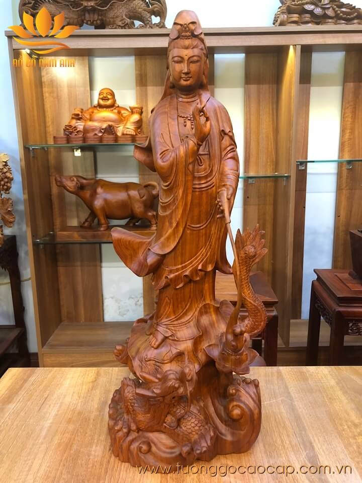 Tượng phật Quan Âm đứng rồng gỗ hương Gia Lai liền khối 68x25x23cm