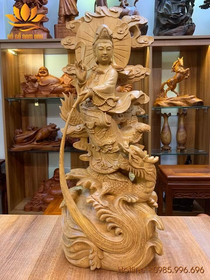 Tượng phật Quan Âm đứng rồng gỗ pơ mu liền khối 70x30x19cm