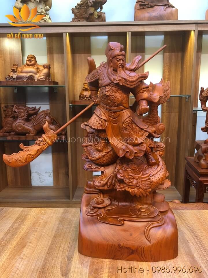 Tượng Quan Công hàng Long gỗ hương liền khối 60x30x20cm