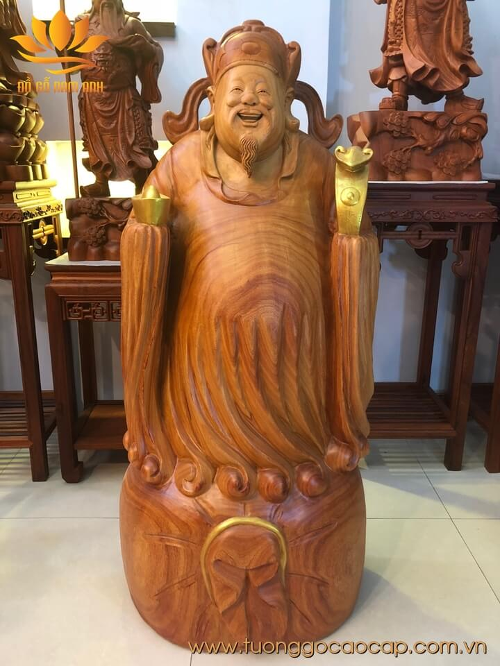 Tượng Thần Tài gỗ hương liền khối 106x48x28cm