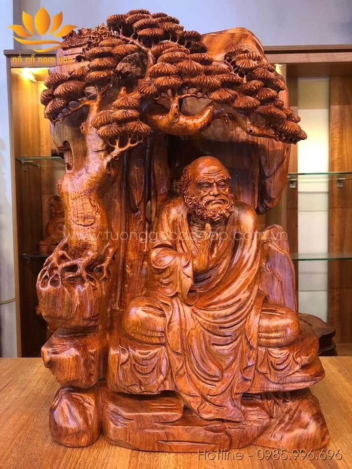 Tượng Đạt Ma ngồi thiền gỗ hương liền khối 60x37x20cm