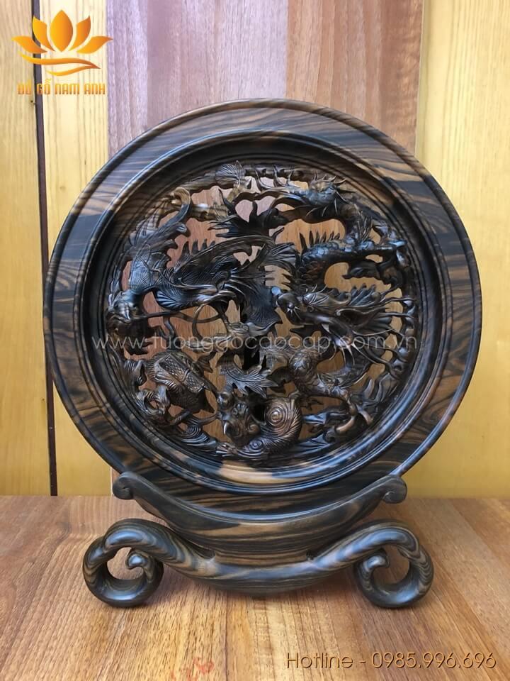 Đĩa Tứ Linh gỗ mun hoa loại nhỏ đường kính 30cm