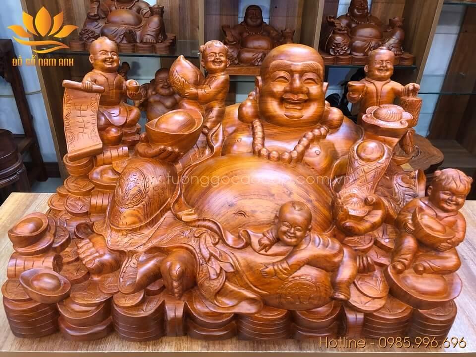 Tượng Di Lặc ngũ phúc ngồi gỗ hương liền khối 36x68x40cm