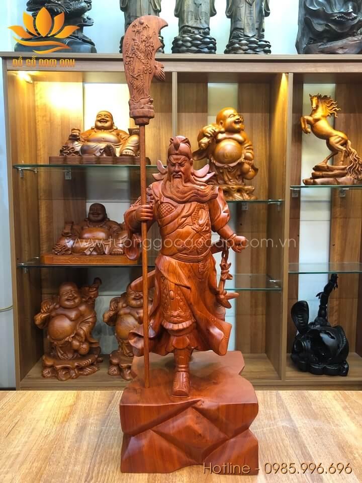 Tượng Quan Công để bàn gỗ hương liền khối 50x20x18cm