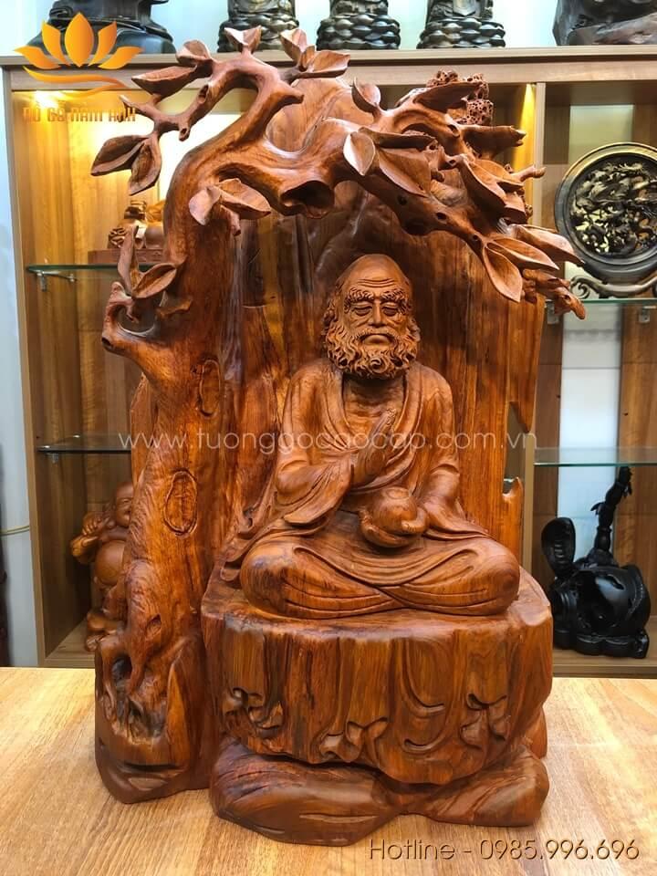 Tượng Đạt Ma ngồi thiền gỗ hương liền khối 60x40x22cm