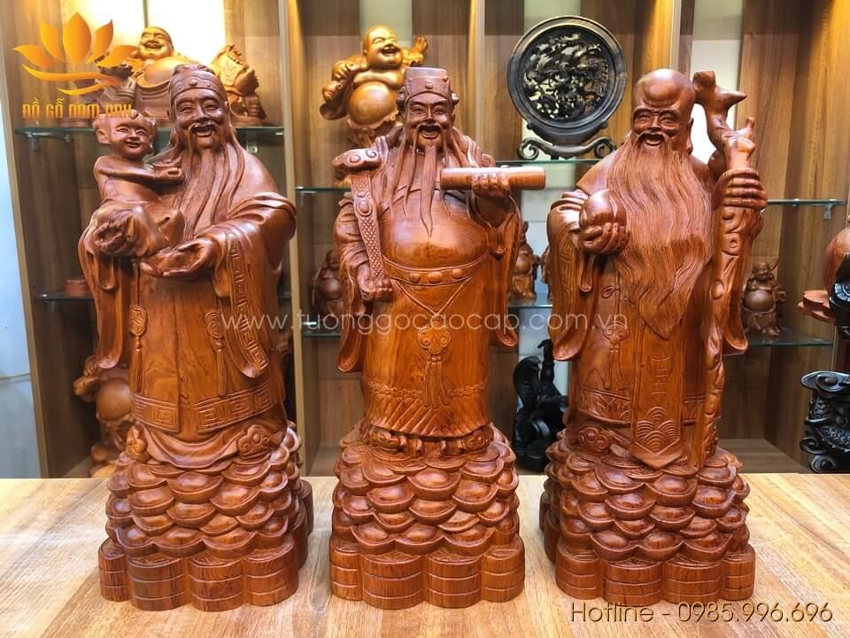 Tượng Phúc Lộc Thọ gỗ hương liền khối 50x20x18cm