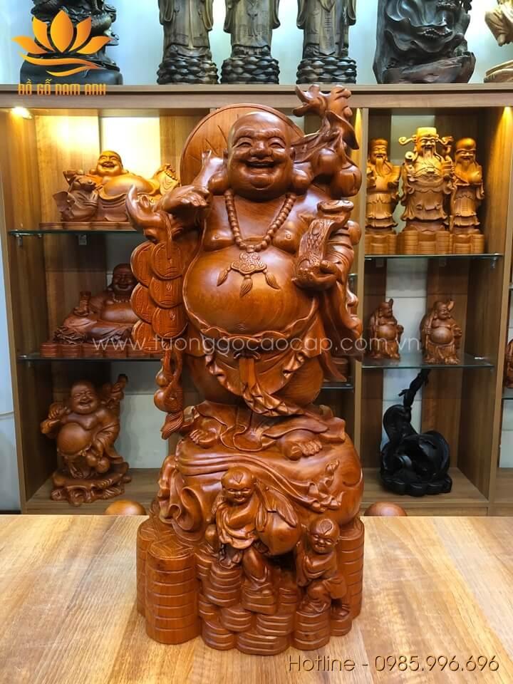 Tượng Di Lặc nhị phúc gánh đào gỗ hương liền khối 70x30x30cm