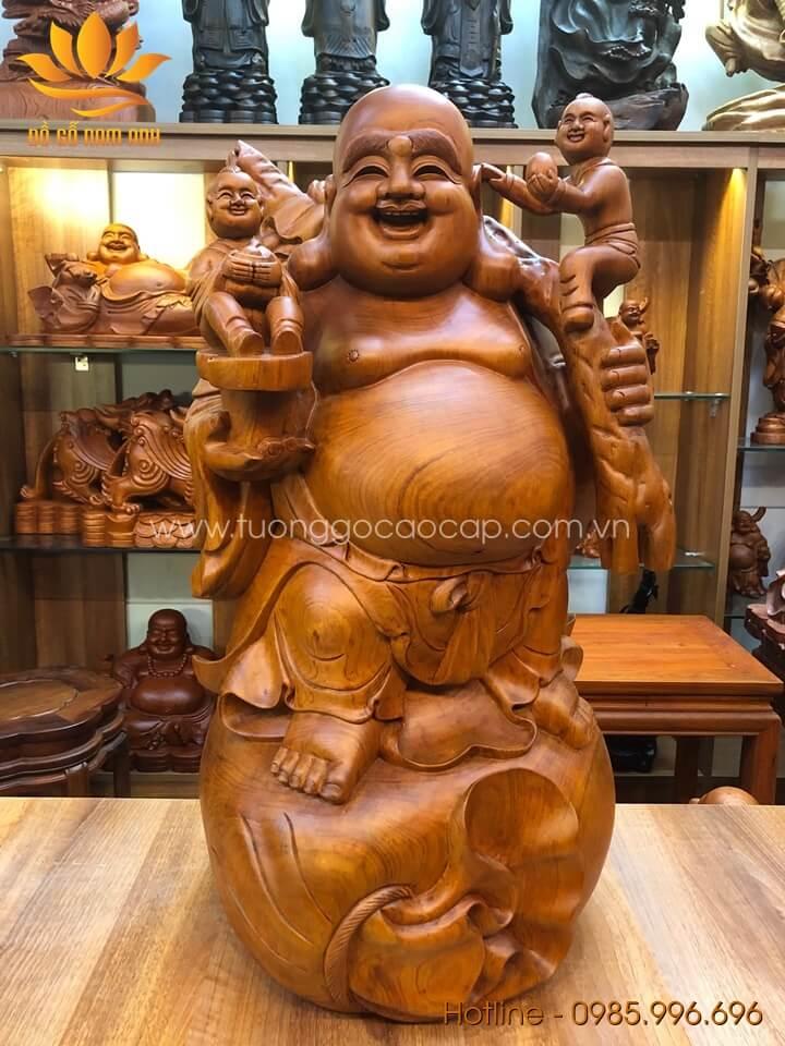 Tượng Di Lặc nhị phúc gánh bao tiền gỗ hương liền khối 70x40x40cm