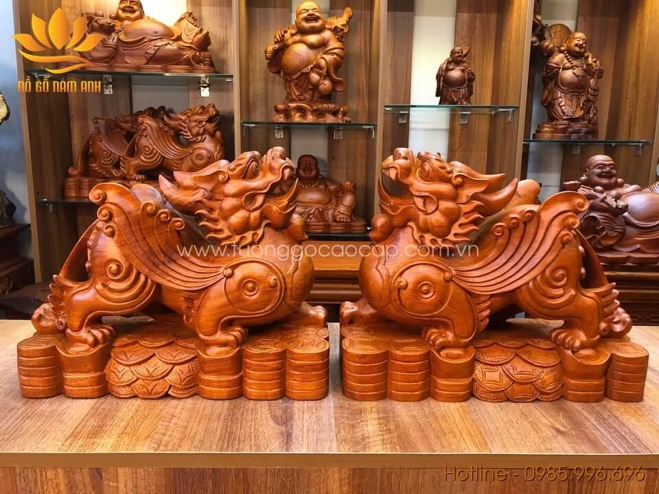 Cặp Tỳ Hưu gỗ hương liền khối 33x40x15cm