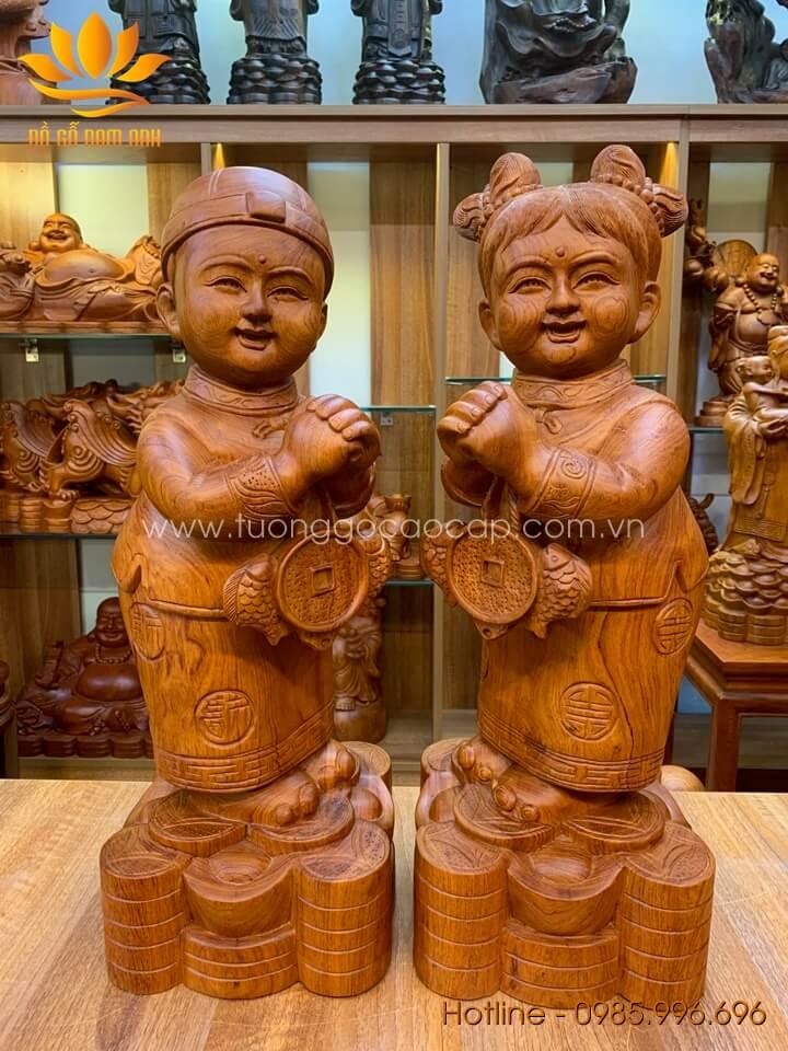 Cặp Tiểu Đồng chúc phúc gỗ hương liền khối 50x18x18cm
