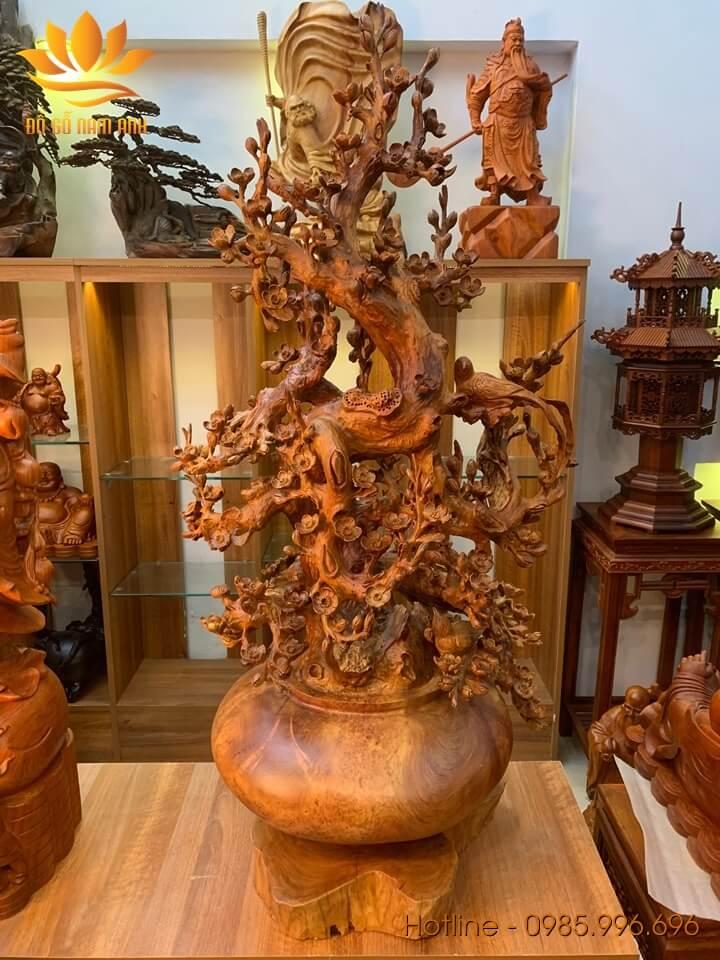 Bình hoa mai phú quý gỗ nu hương 120x55x42cm