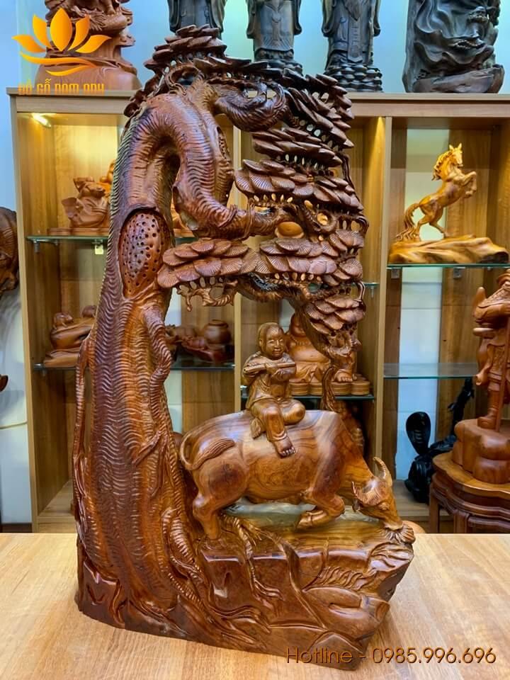Mục Đồng chăn trâu thổi sáo gỗ hương liền khối 72x42x25cm