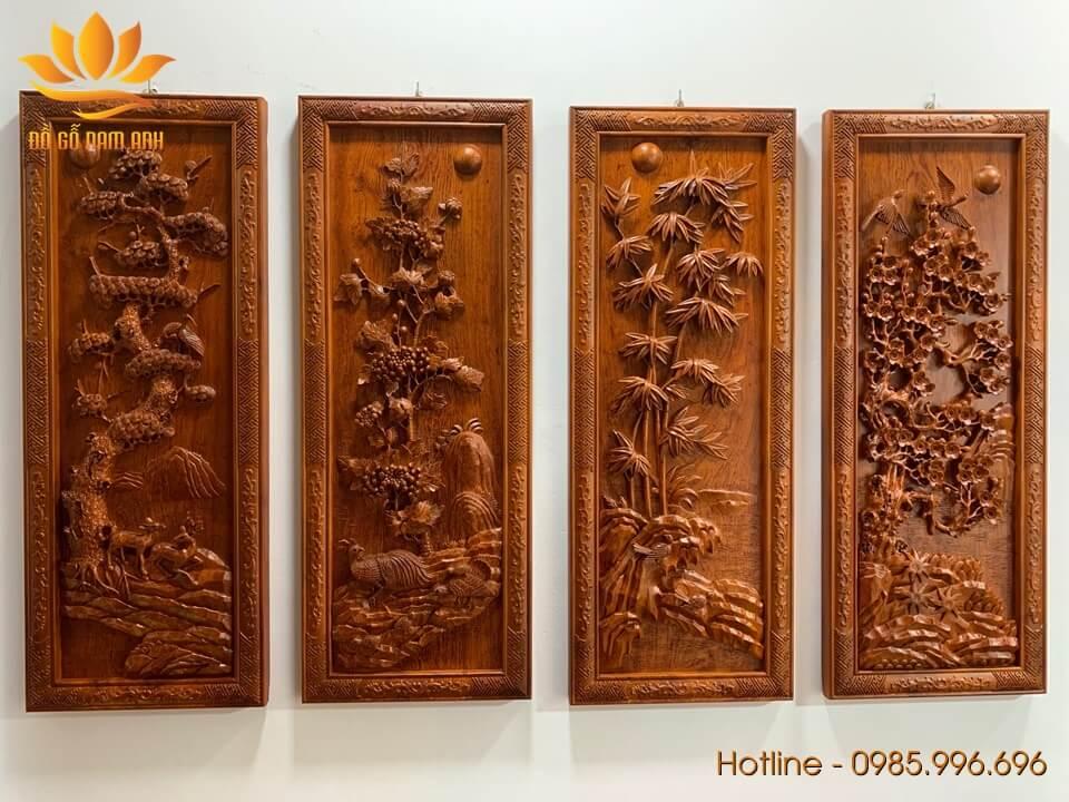 Tranh Tứ Quý gỗ hương đục tay sắc nét 100x38x4cm