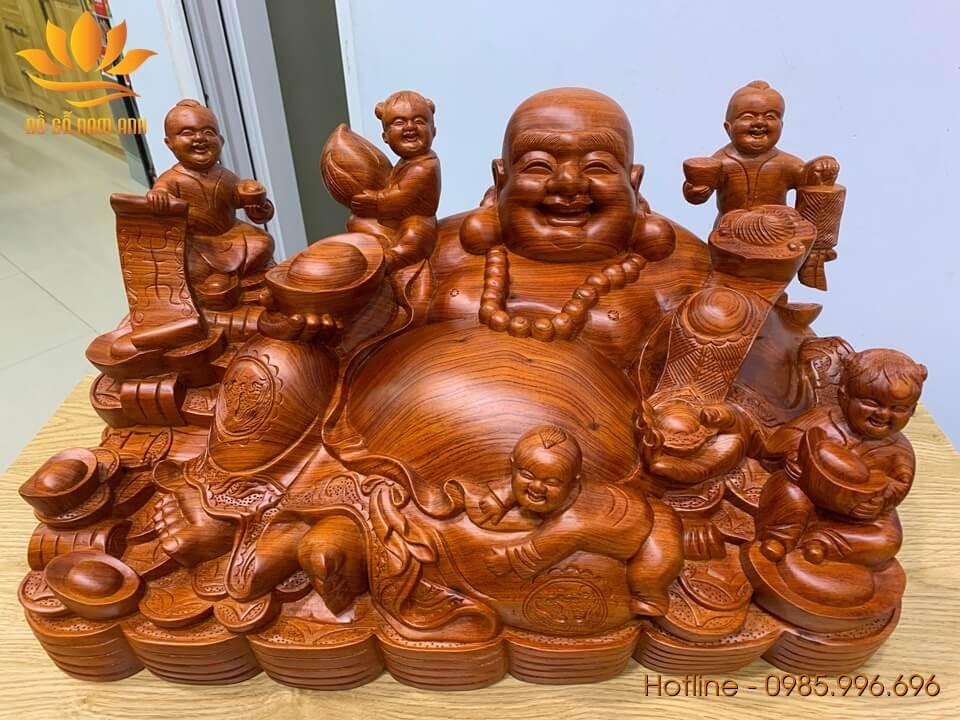 Tượng Di Lặc ngũ phúc ngồi gỗ hương liền khối 34x60x34cm