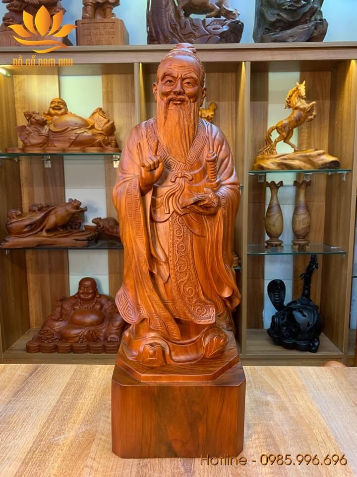 Tượng Khổng Tử mẫu đẹp gỗ hương liền khối 60x20x19cm