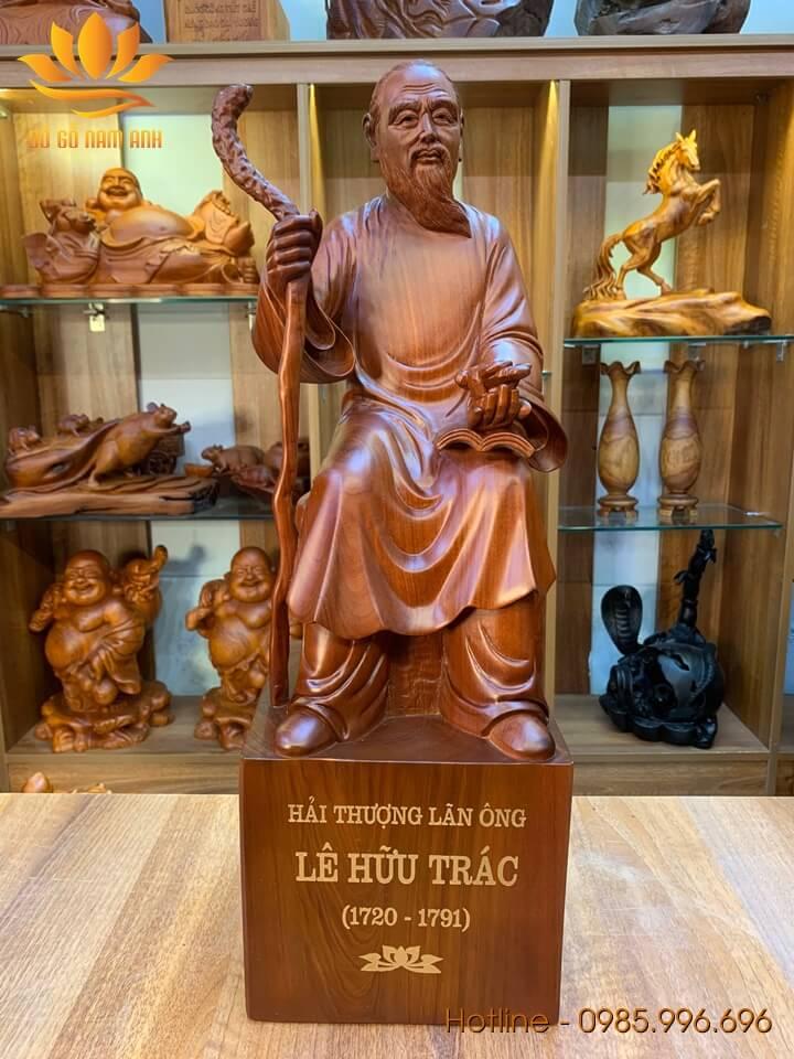 Tượng Hải Thượng Lãn Ông - Lê Hữu Trác gỗ hương liền khối 60x20x20cm