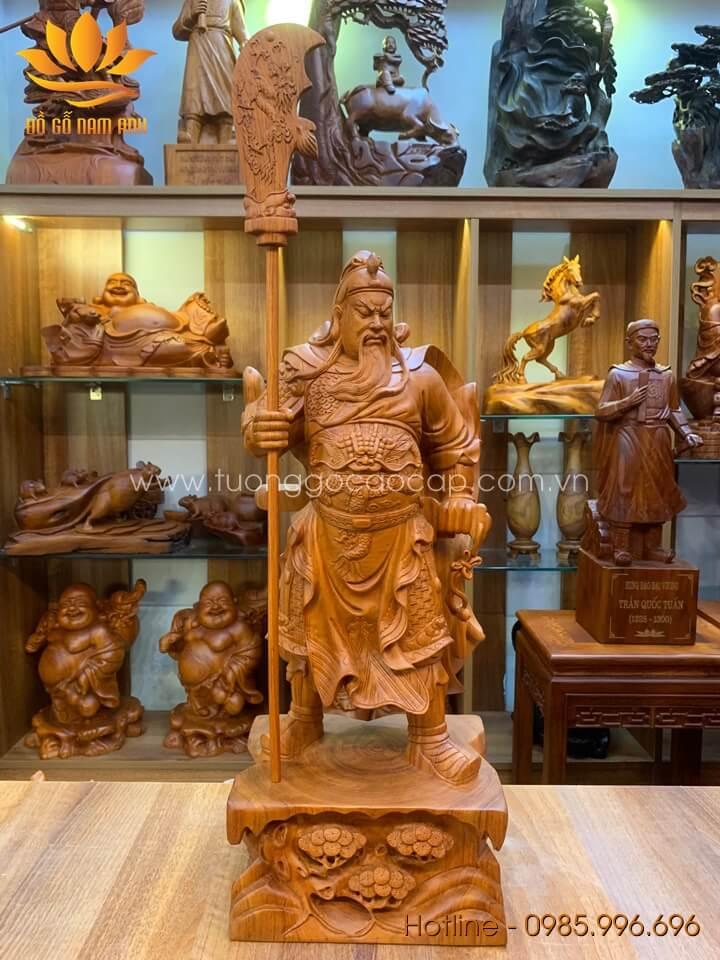Tượng Quan Công gỗ hương liền khối 60x24x18cm