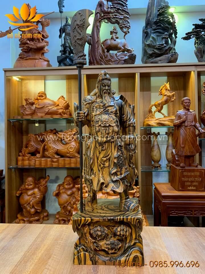 Tượng Quan Công gỗ mun hoa liền khối vân siêu đẹp 60x22x18cm