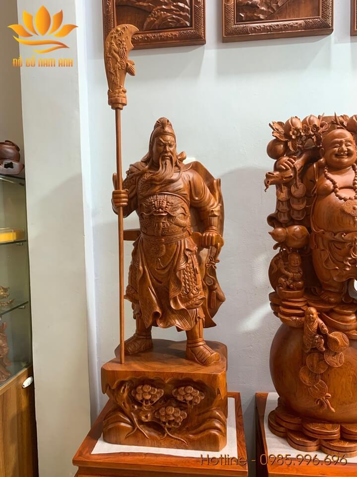 Tượng Quan Công chống đao loại to gỗ hương liền khối 100x38x28cm