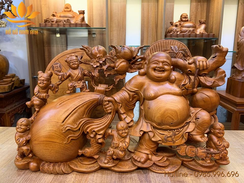 Tượng Di Lặc kéo bao tiền gỗ hương liền khối siêu đẹp 38x60x22cm