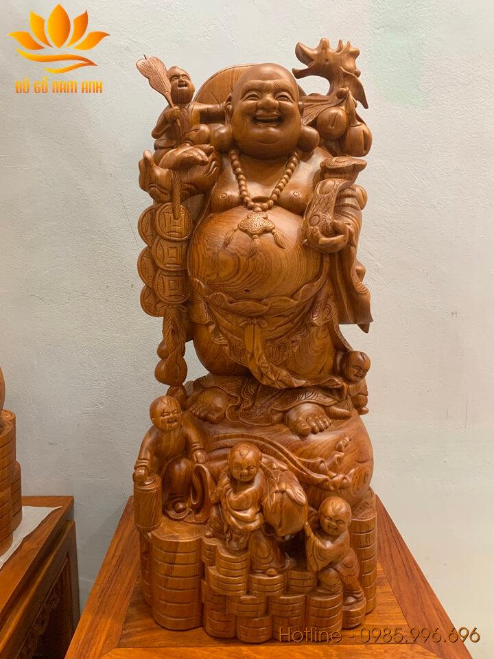 Tượng Di Lặc ngũ phúc gánh đào gỗ hương liền khối 80x38x36cm