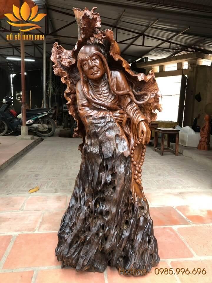 Tượng La Hán Trường Mi gỗ gù hương xá xị liền khối 117x60x50cm