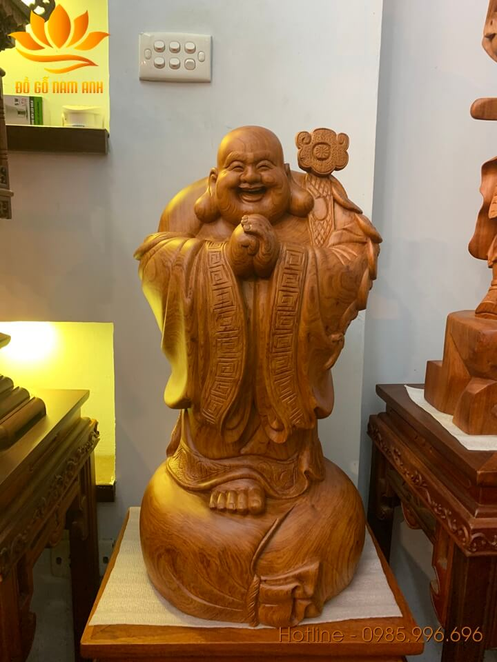 Tượng Di Lặc chúc phúc gỗ hương liền khối 60x31x29cm