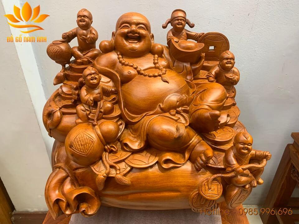 Tượng Di Lặc ngũ phúc ngồi bao tiền gỗ hương liền khối 45x50x35cm