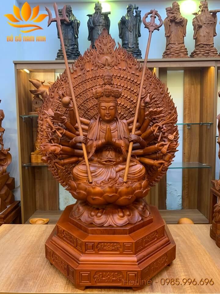 Tượng phật Thiên Thủ Thiên Nhãn gỗ hương 61x55x42cm