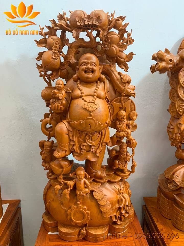 Tượng Di Lặc ngũ phúc gánh đào gỗ hương liền khối 100x48x28cm
