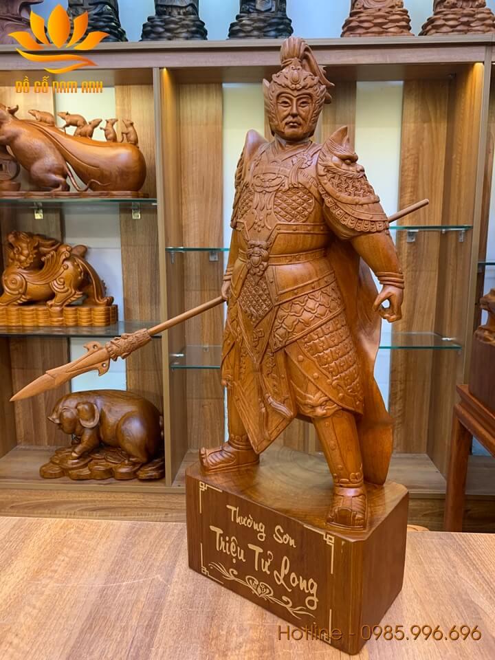 Tượng Triệu Tử Long - Triệu Vân  gỗ hương liền khối 60x24x14cm